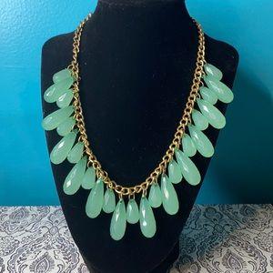 Vintage 1950's Beaded Jade Teardrop Necklace